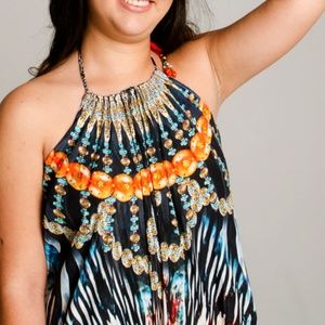 Dresses - ONE SIZE EMBELLISHED TANZANIA NECKLACE MAXI DRESS